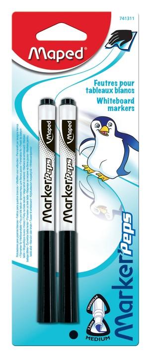 Maped Marker'Peps - Pack de 2 marqueurs effaçables - pointe fine - noir