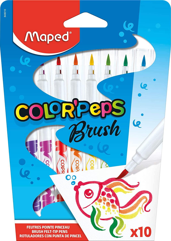 Maped Color'Peps - 10 Feutres pinceaux à pointe souple