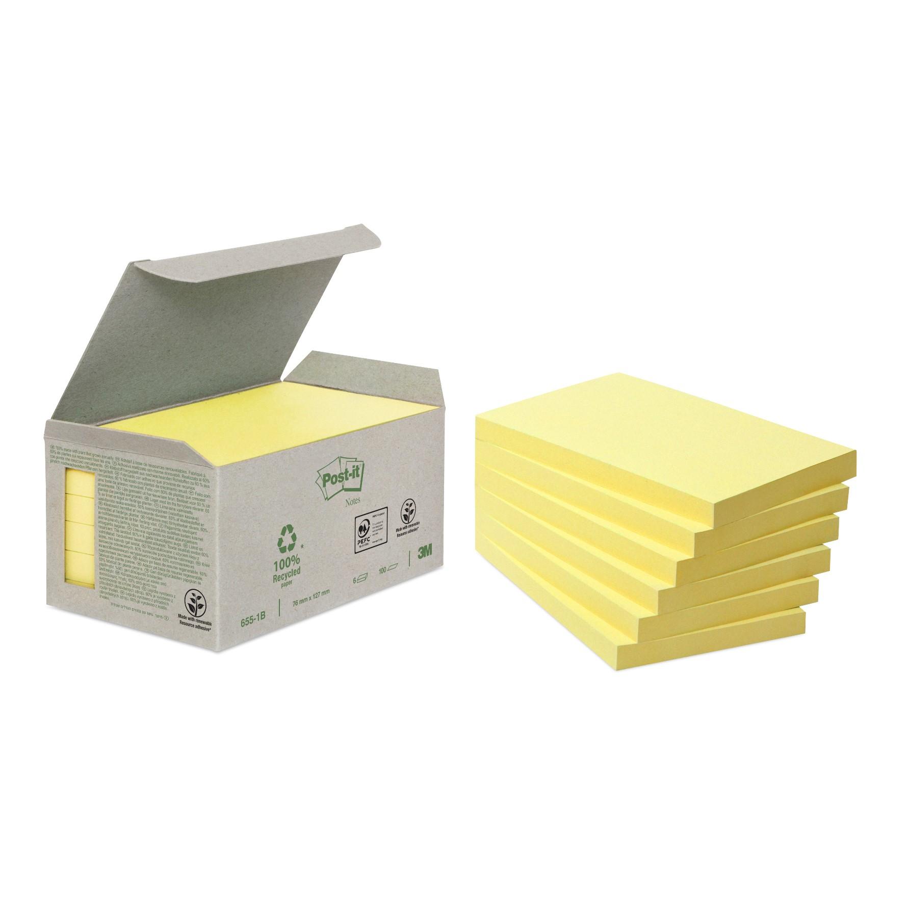 Post-it - 6 Blocs notes recyclées - 76 x 127 mm - jaune