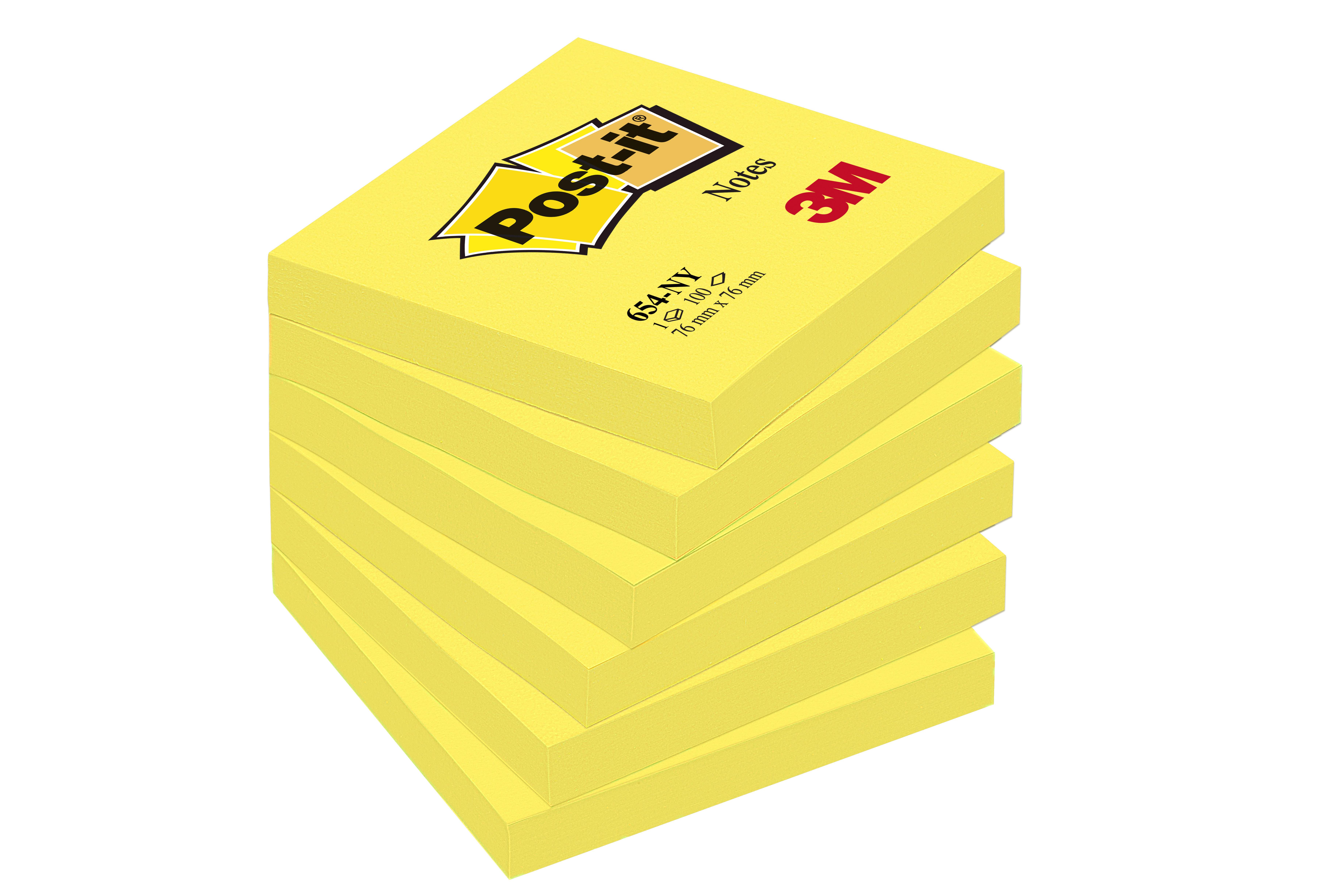 Post-it - 6 Blocs notes - jaune néon - 76 x 127 mm