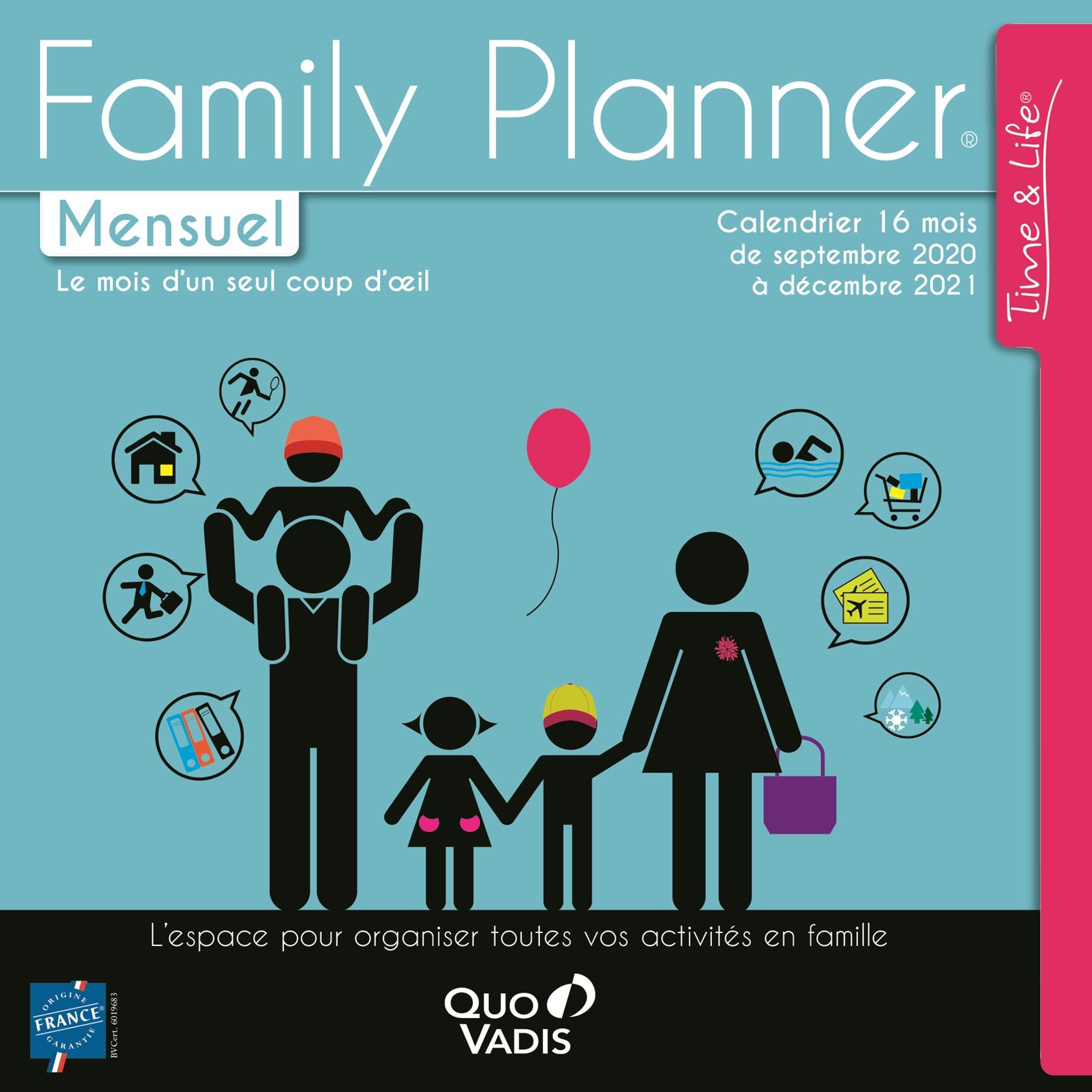 Calendrier Famlily Planner Mensuel Septembre/Décembre - 30 x 30 cm - Quo Vadis