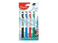 MAPED MARKER'PEPS - Pack de 4 - Marqueurs effaçables avec ventouse - pointe fine - couleurs assorties