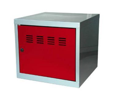 Casier cube / Vestiaire - 36 x 40 x 40 cm - aluminium/rouge