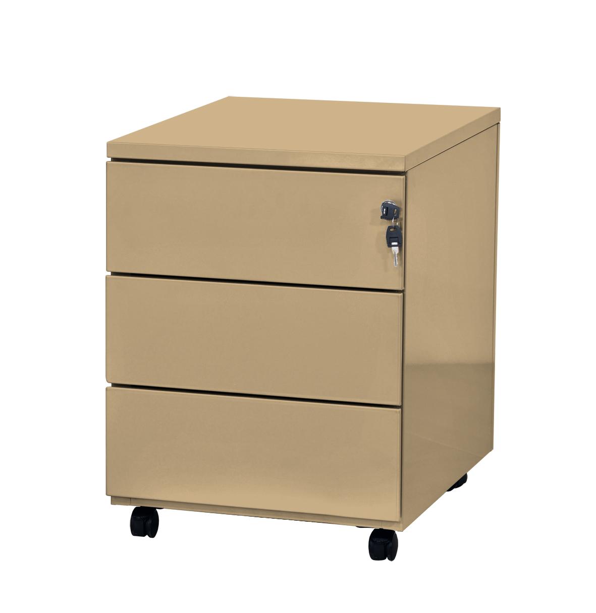 Caisson mobile - 3 tiroirs - beige - 56,7 x 54,1 x 41,8 cm