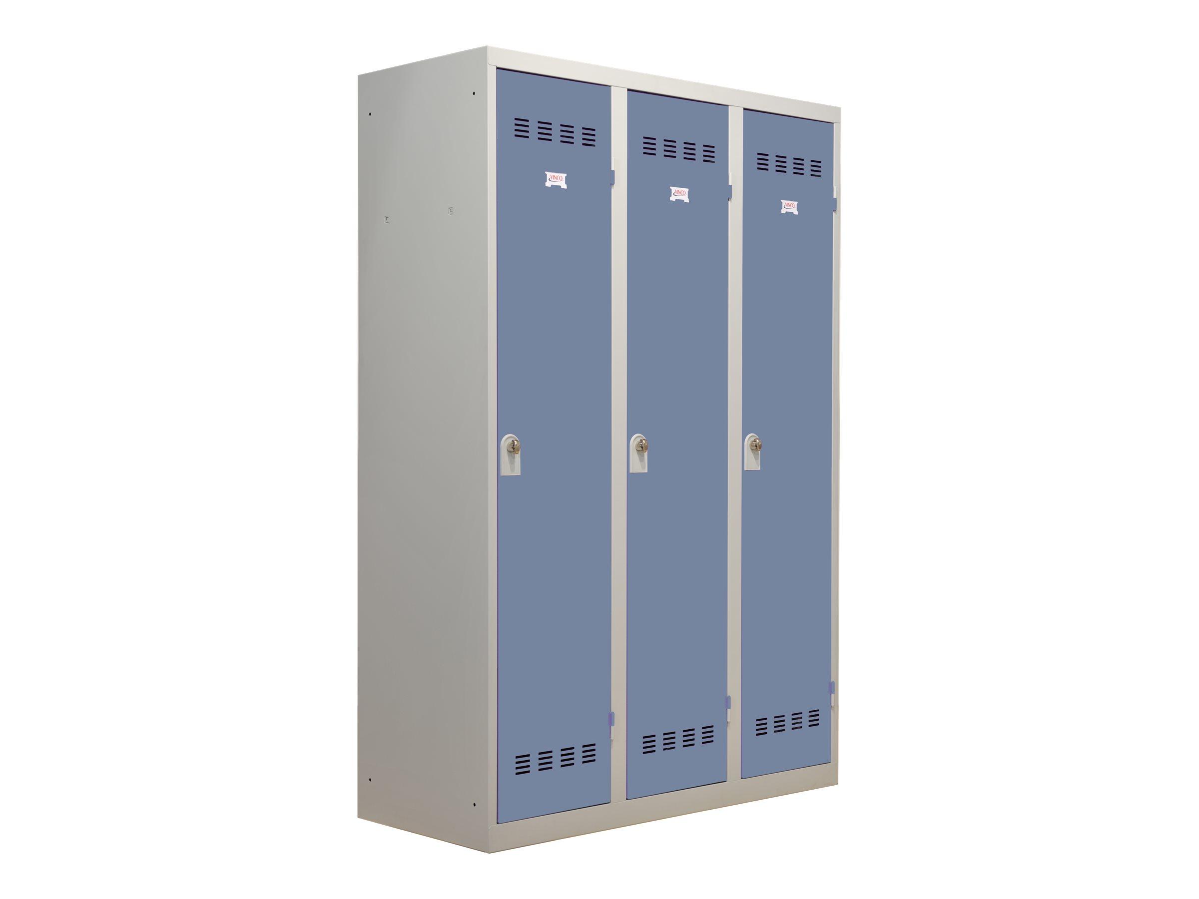 Vestiaire Industrie Salissante - 3 portes - 180 x 120 x 50 cm - gris/beu