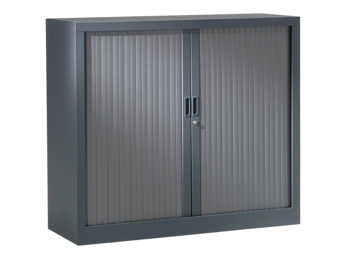 Armoire basse monobloc à rideaux GENERIC - 100 x 120 x 43 cm - anthracite/anthracite