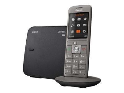 Gigaset CL660A Trio - téléphone sans fil - avec répondeur + 2 combinés supplémentaires - noir