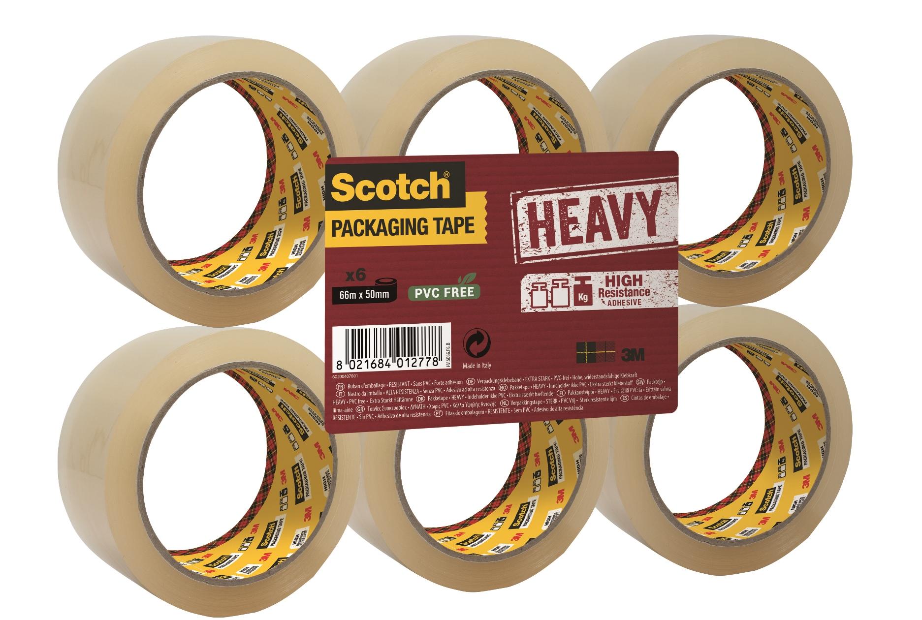 Scotch -  Pack de 6 - Rubans adhésifs résistants - 50 mm x 66 m - transparent