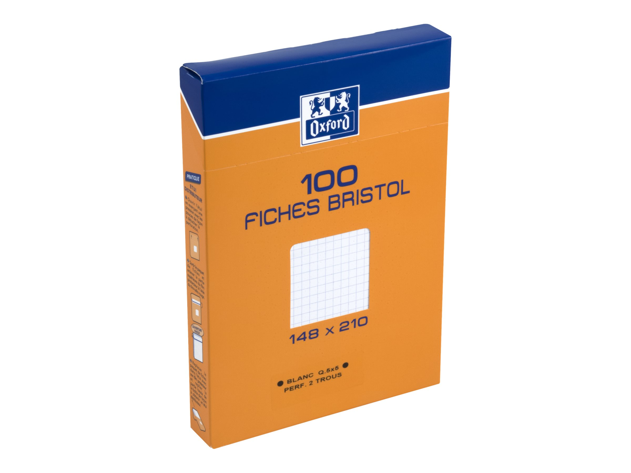 Oxford - Fiches Bristol - A5 - 14,8 x 21 cm - Perforées - Blanc - Petits carreaux - Pack de 100