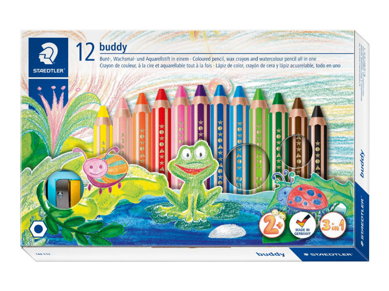STAEDTLER Buddy - 12 Crayons de couleur - pointe large