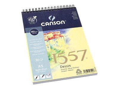 Canson 1557 - Bloc dessin - 30 feuilles - A5 - 180 gr - blanc