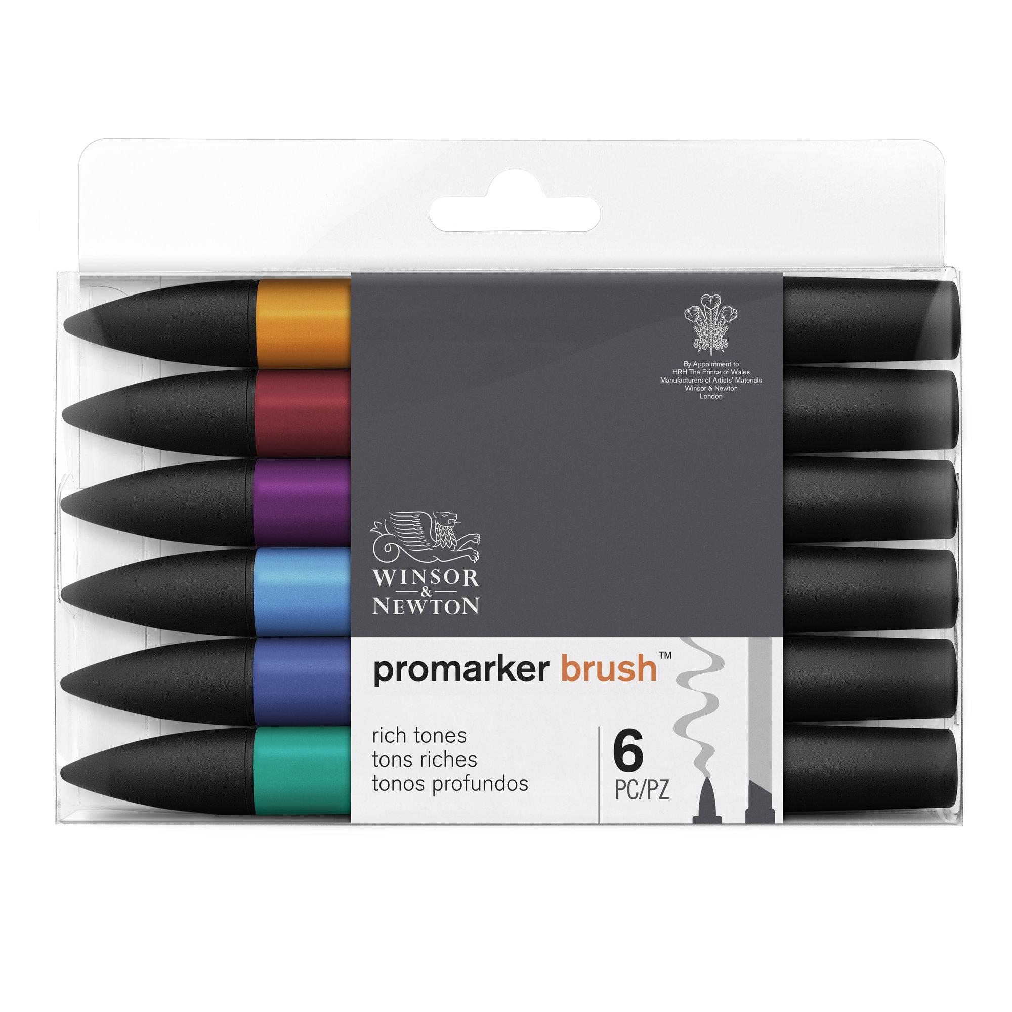 BrushMarker - Pack de 6 stylos pinceaux et marqueurs - tons riches