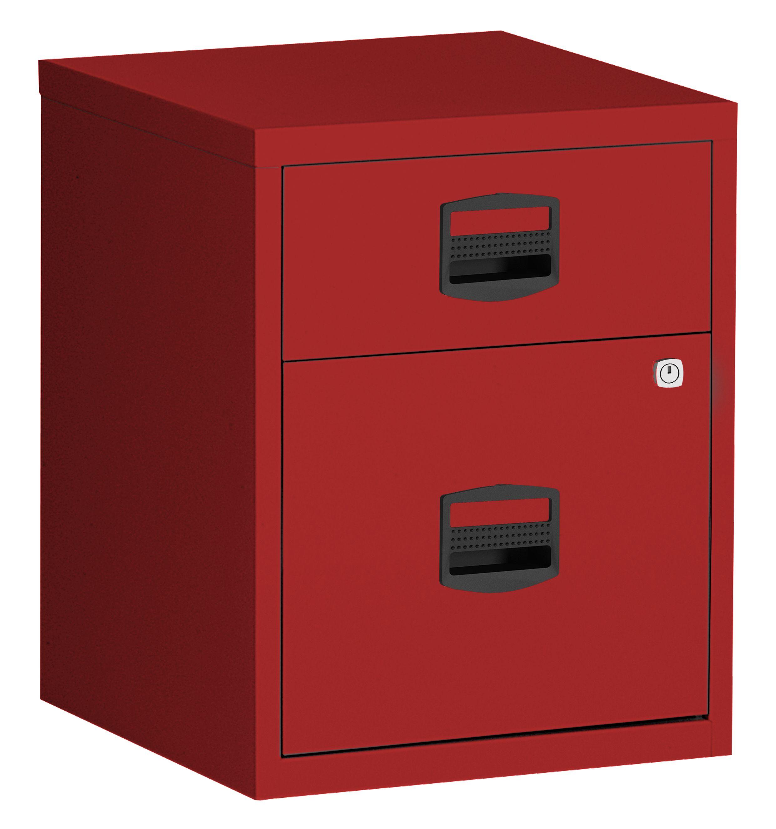 Caisson mobile métallique monobloc - H52 x L41 x P40 cm - 2 tiroirs - rouge