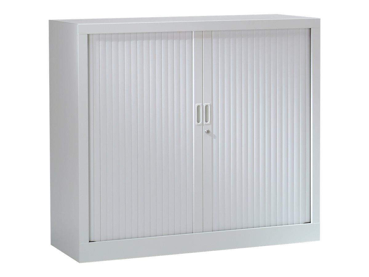 Armoire basse monobloc à rideaux GENERIC - 100 x 120 x 43 cm - gris