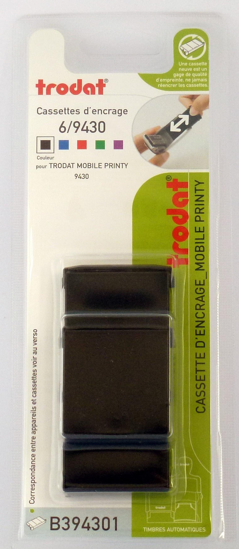 Trodat - 3 Encriers 6/9430 recharges pour tampon Mobile Printy 9430 - noir
