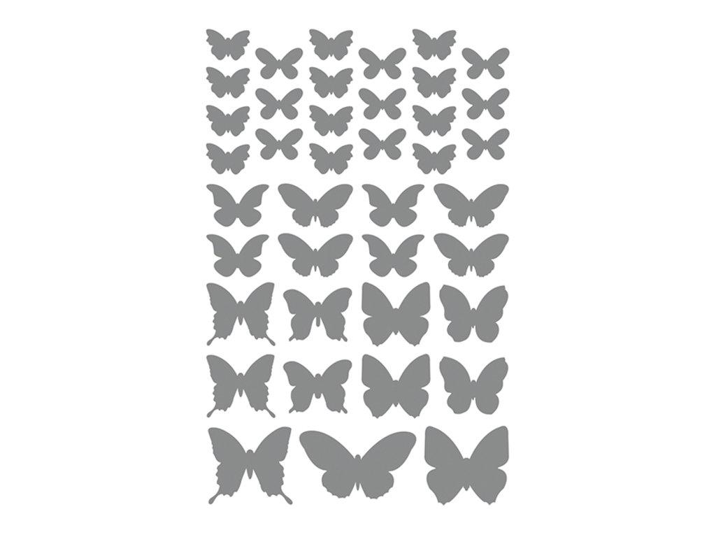 Maildor - 4 feuilles gommettes papillon - or et argent