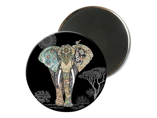 Kiub Bug Art - Magnet rond en verre - Eléphant