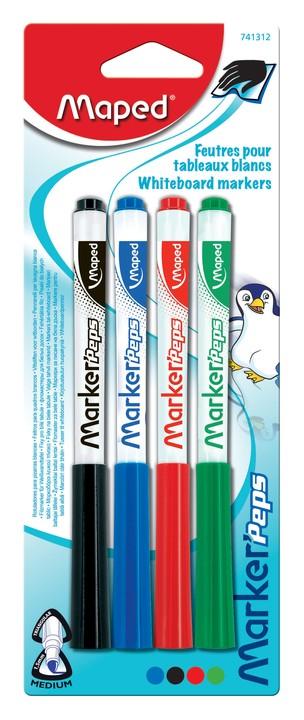 Maped Marker'Peps - Pack de 4 marqueurs effaçables - pointe fine - couleurs assorties