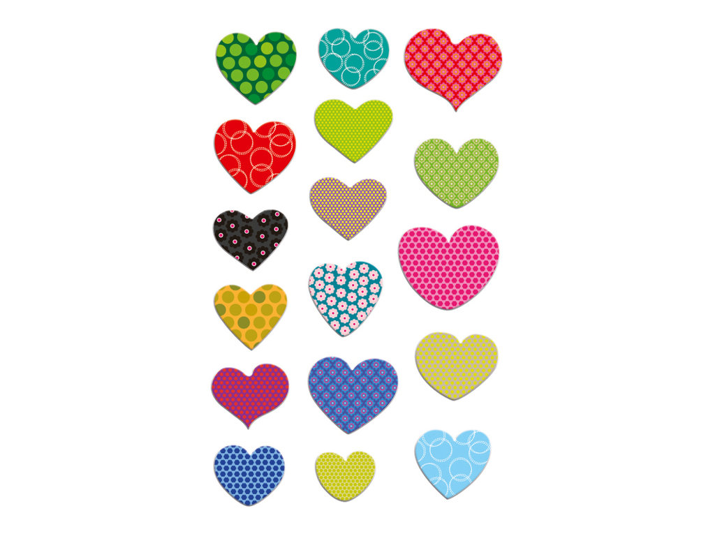 Maildor - 1 feuille gommettes cœurs avec motifs