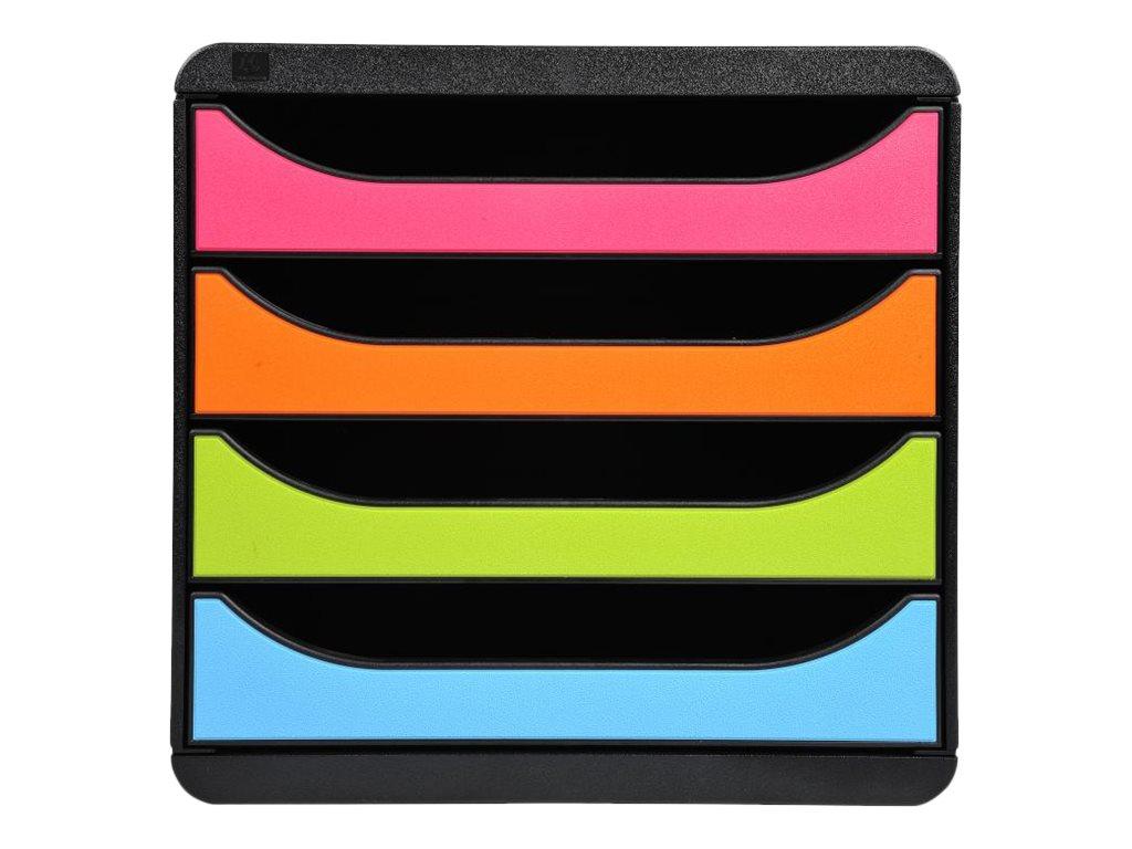 Exacompta BigBox - Module de classement 4 tiroirs - noir/arlequin