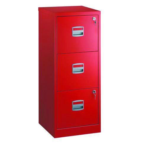 Classeur métallique monobloc - 3 tiroirs - H102 x L41 x P40 cm - rouge