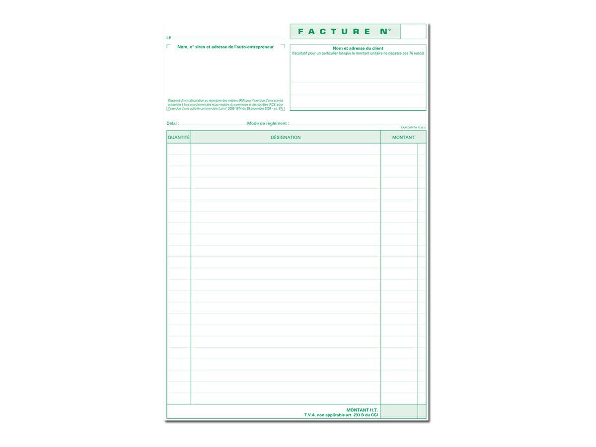 Exacompta - Manifold Carnet de factures pour auto-entrepreneurs -50 dupli - A4