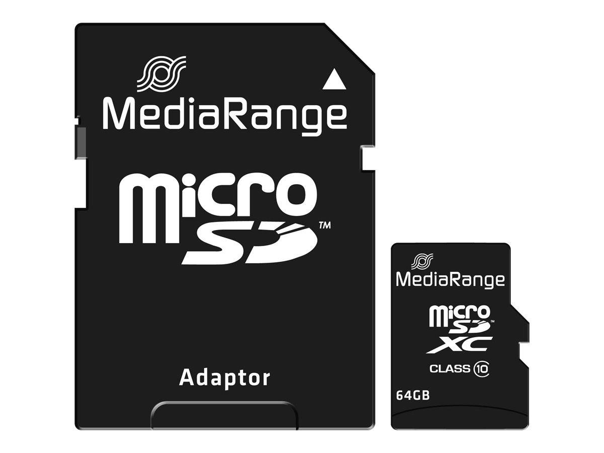 MediaRange - carte mémoire 64 Go - Class 10 - micro SDXC