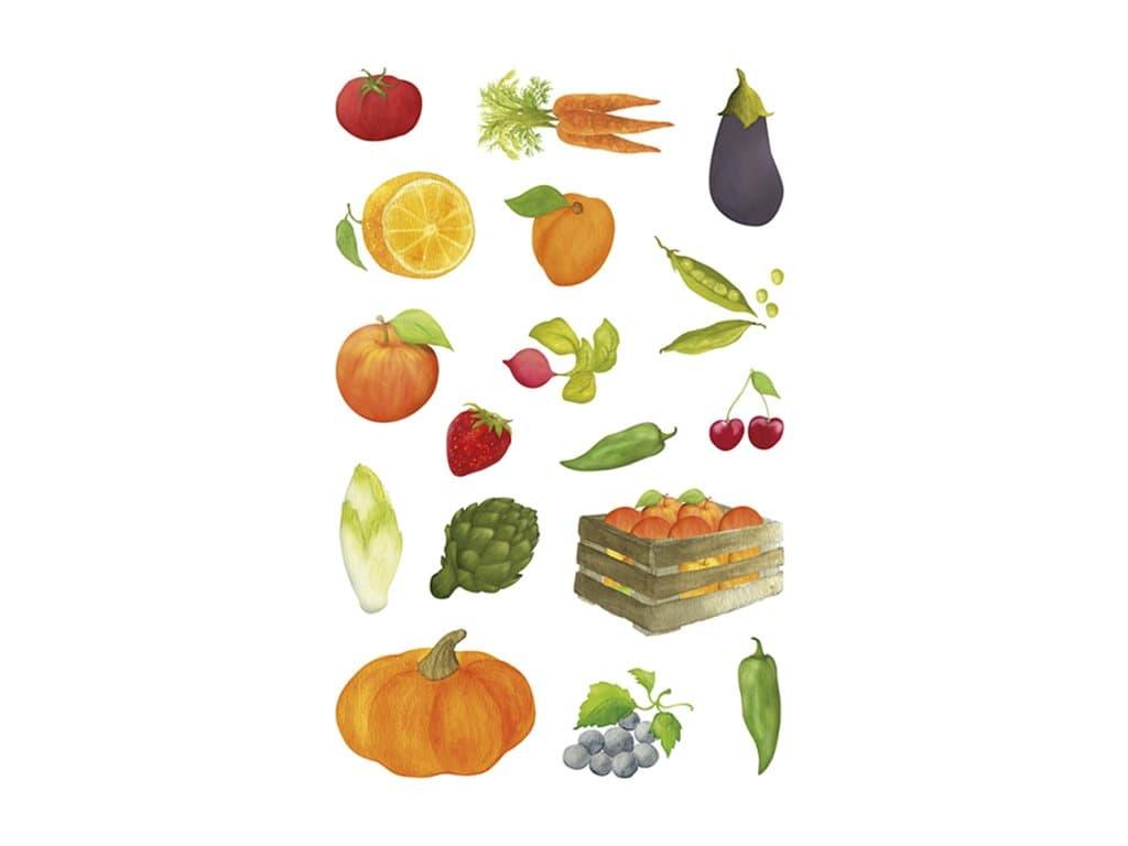 Maildor - 4 feuilles gommettes fruits et légumes
