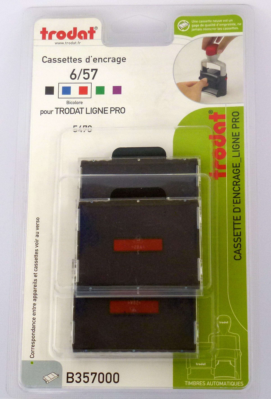 Trodat - 3 Encriers bicolores 6/57/2 recharges pour tampon 5470 - bleu/rouge
