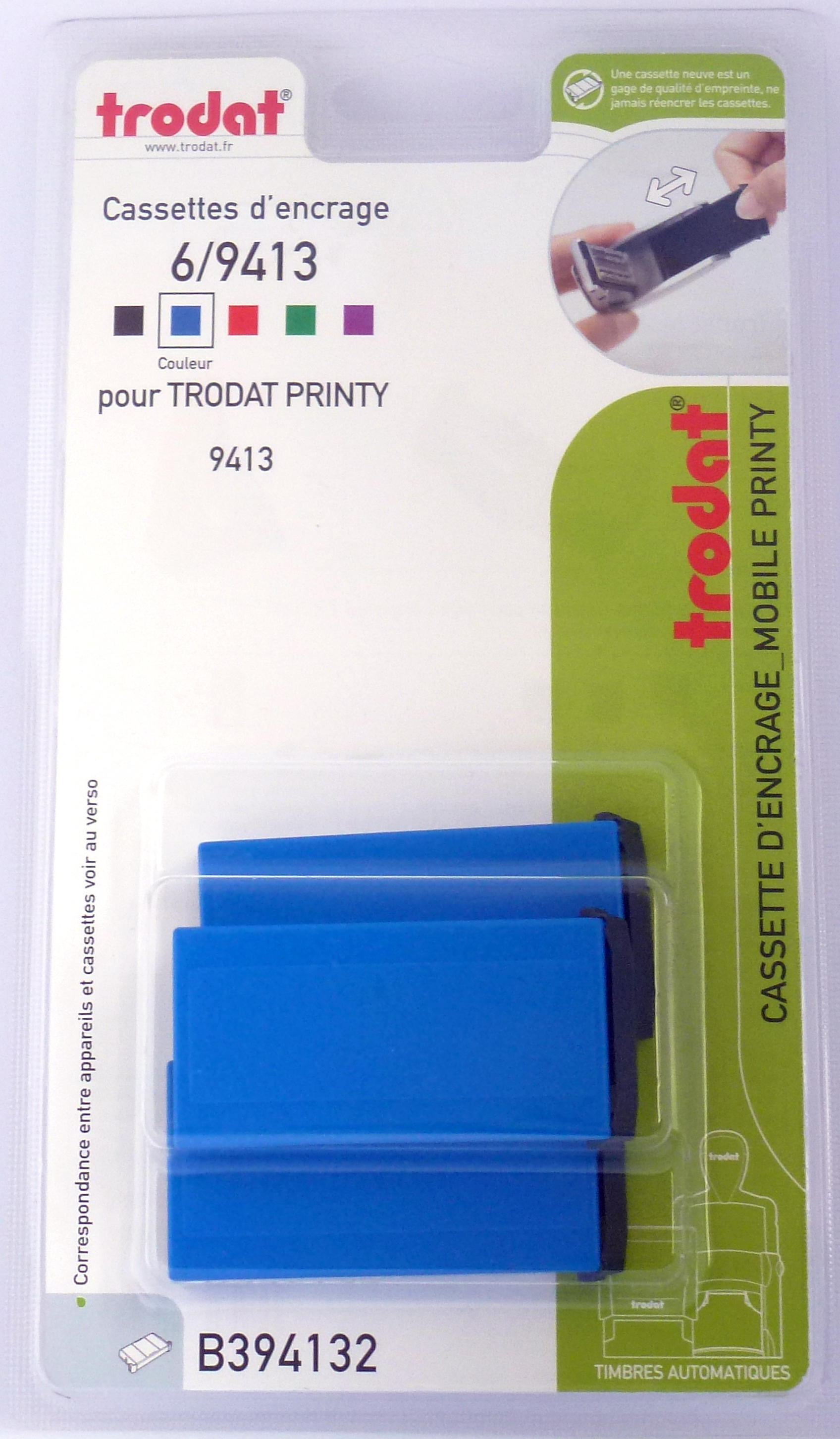 Trodat - 3 Encriers 6/9413 recharges pour tampon Mobile Printy 9413 - bleu
