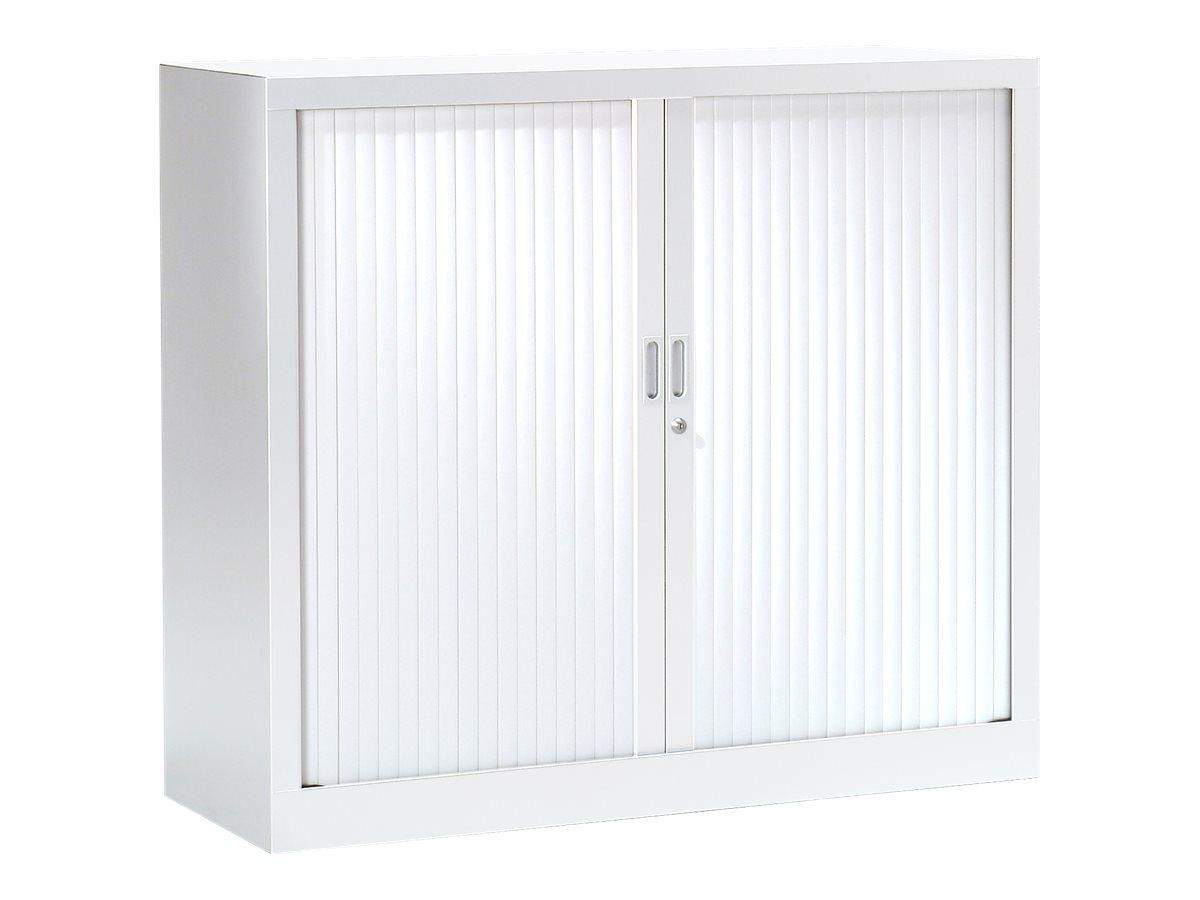 Armoire basse monobloc à rideaux GENERIC - 100 x 120 x 43 cm - blanc