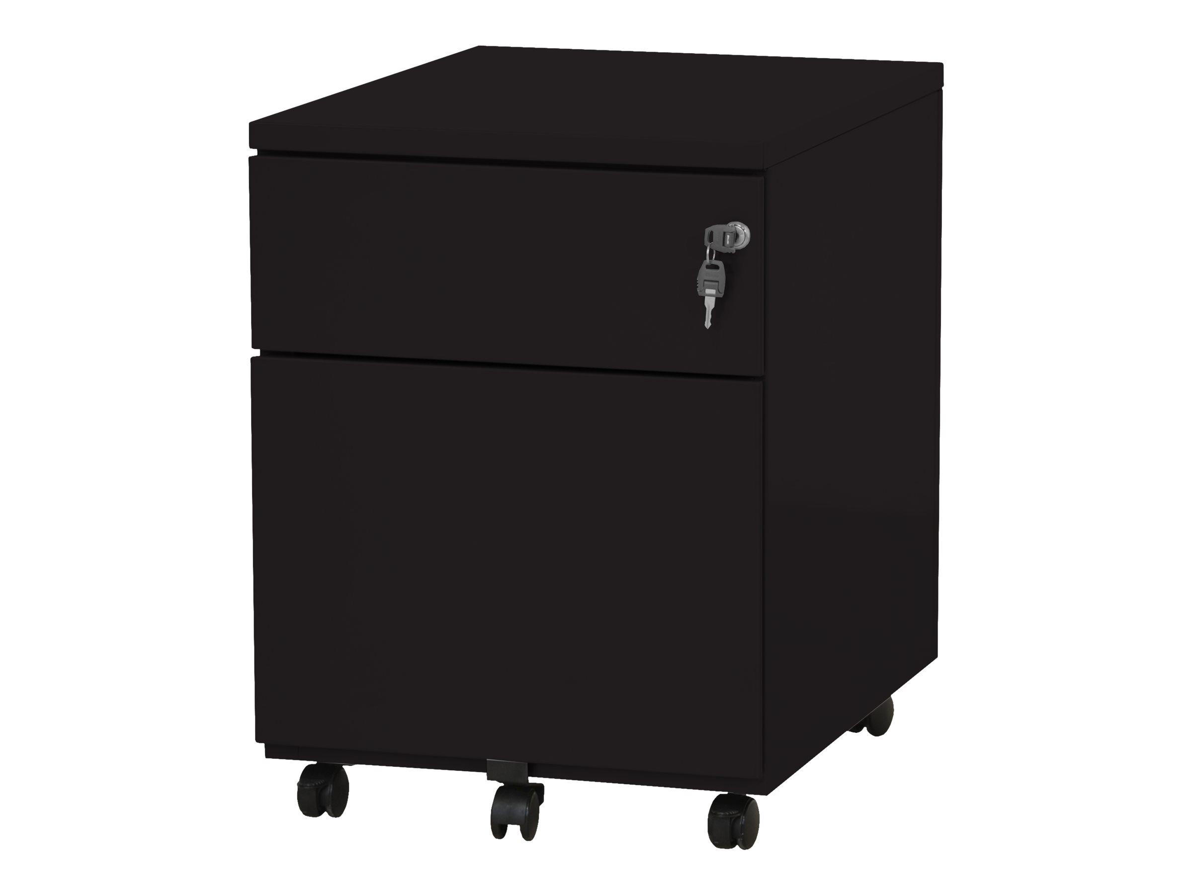 Caisson mobile - 2 tiroirs - noir - 56,7 x 54,1 x 41,8 cm