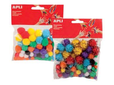 Apli - 78 pompons - coloris assortis brillants