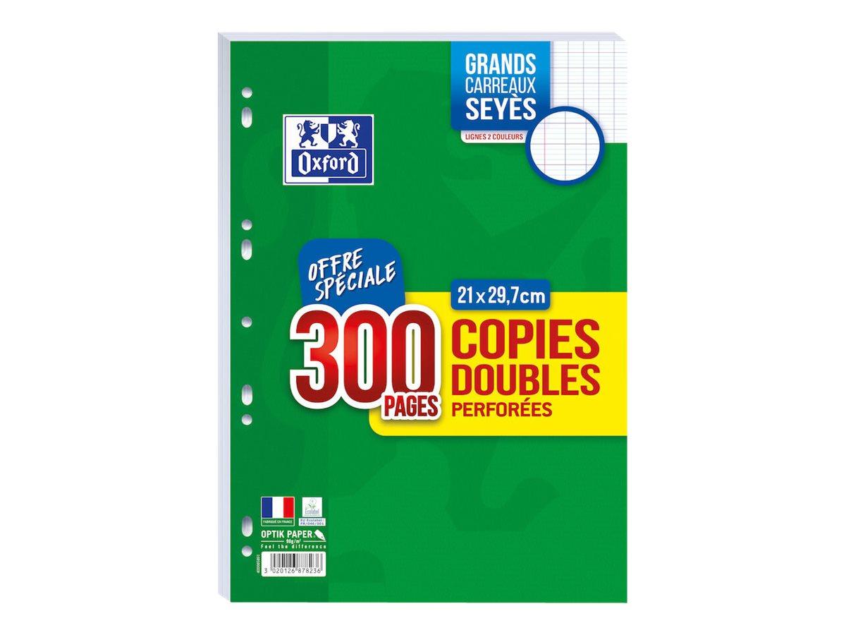 Oxford - 300 copies doubles A4 - grands carreaux - perforées
