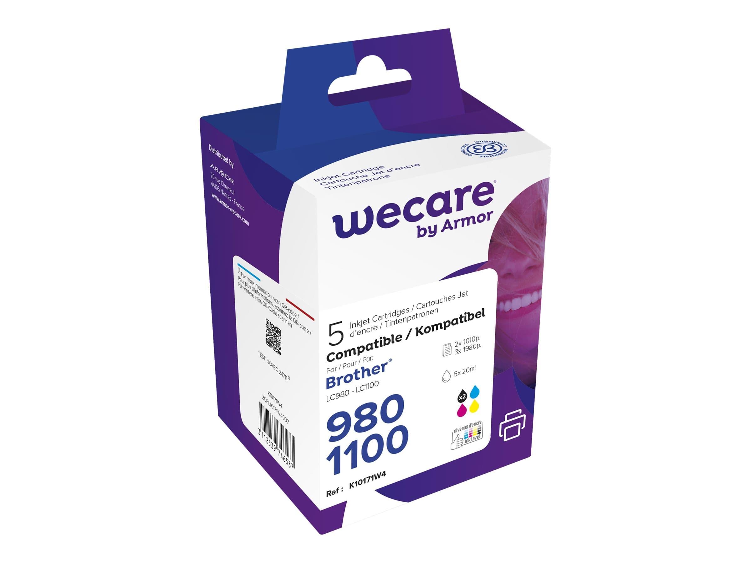 Brother LC1100/LC980 - compatible Wecare K10171W4 - pack de 5 - noir x2, cyan, magenta, jaune - cartouche d'encre