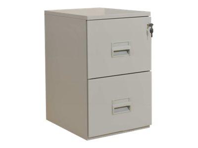 Classeur 2 tiroirs pour dossiers suspendus - 68 x 42 x 54 cm - gris
