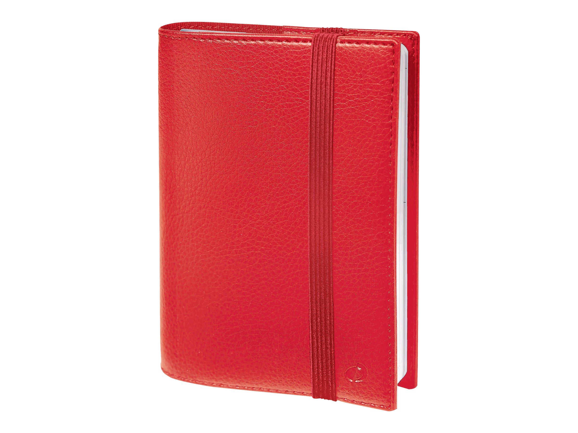 Time & Life Large - Agenda spiralé à élastique - 1 semaine sur 2 pages - 16 x 24 cm - rouge cerise - Quo Vadis