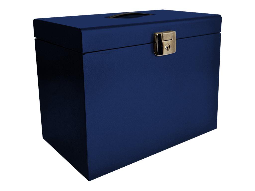 Pierre Henry - Classeur ménager en métal (valisette) avec 5 dossiers suspendus- bleu nuit