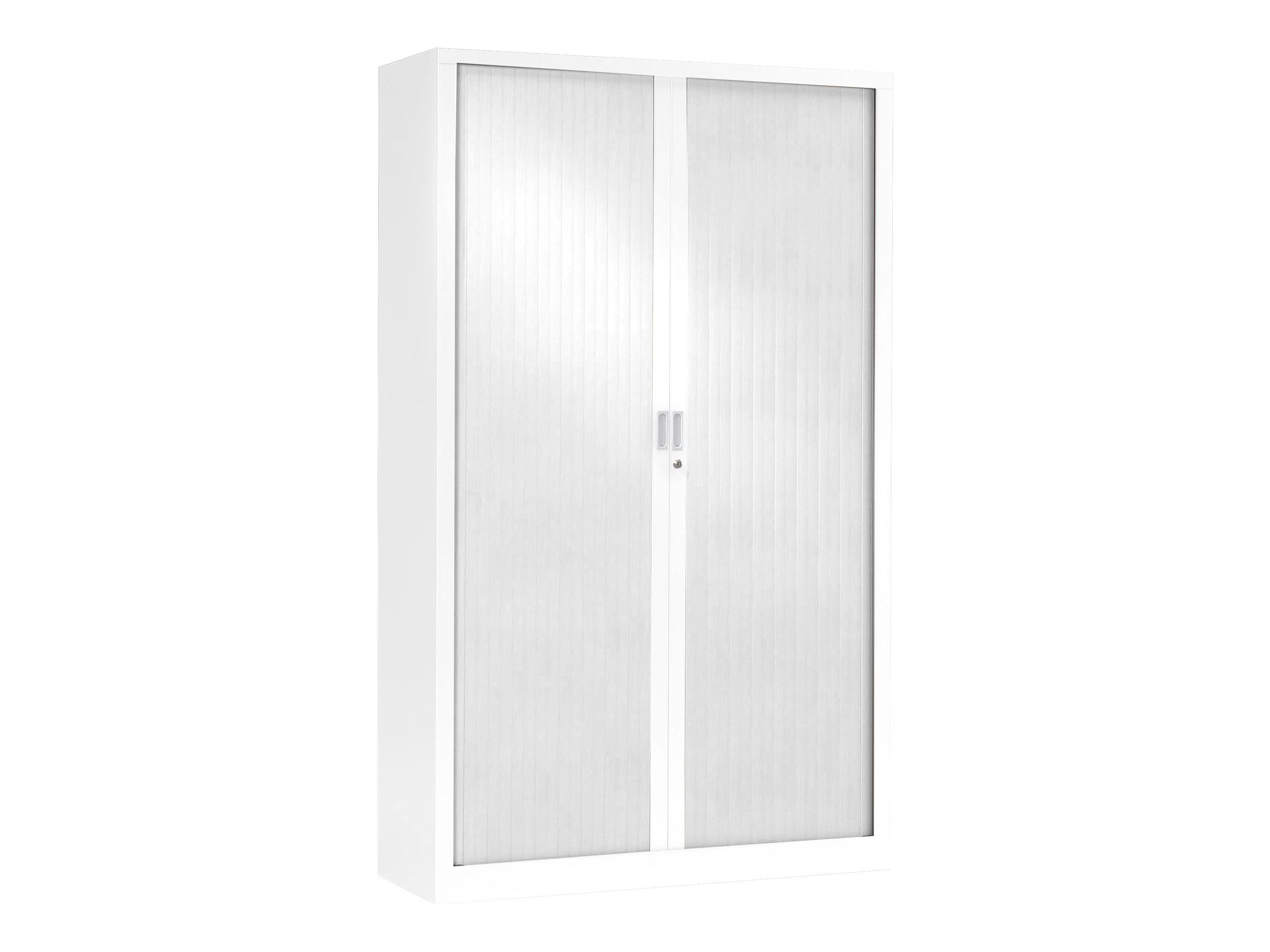 Armoire haute monobloc à rideaux GENERIC - 198 x 120 x 43 cm - blanc