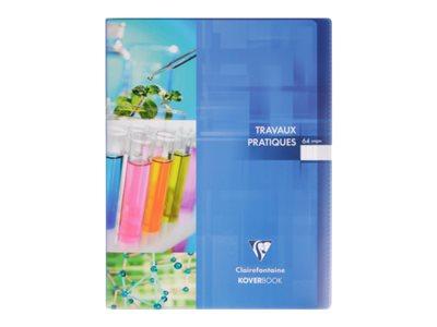 Clairefontaine Koverbook - Cahier polypro de travaux pratiques (TP) - 24 x 32 cm - 64 pages - grands carreaux (Seyes)/uni - disponibles dans différentes couleurs