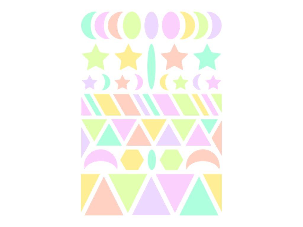 Maildor - 6 feuilles gommettes géométriques - pastel