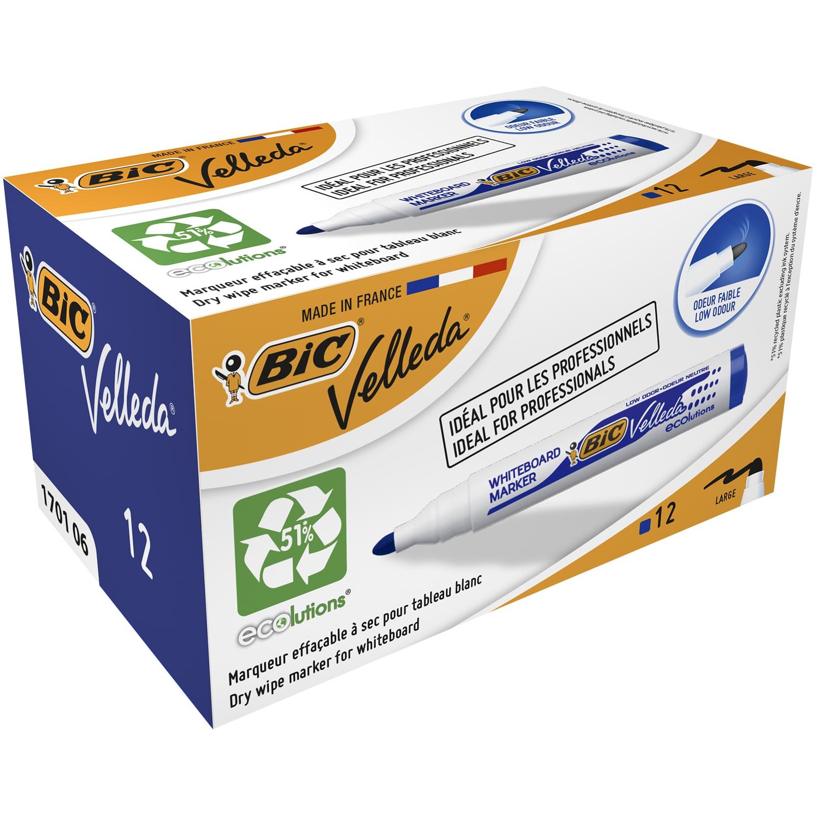 BIC VELLEDA 1701 - Pack de 12 marqueurs effaçables - pointe ogive - bleu