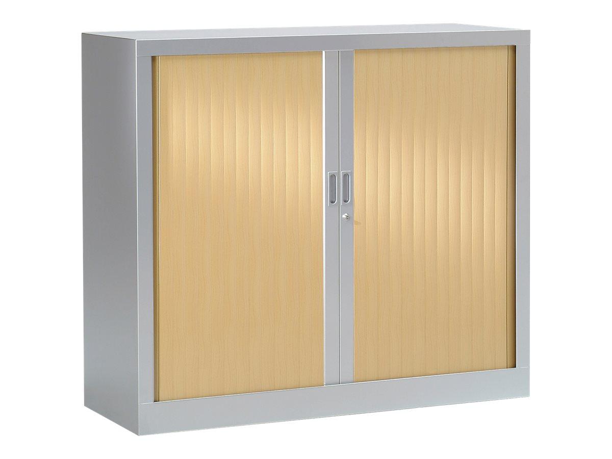 Armoire basse monobloc à rideaux GENERIC - 100 x 120 x 43 cm - aluminium/chêne clair