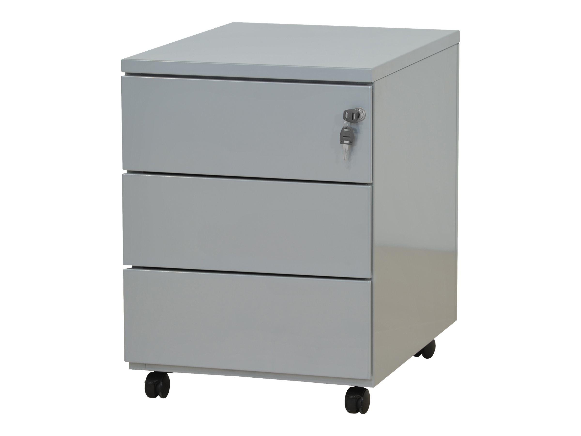 Caisson mobile - 3 tiroirs - gris - 56,7 x 54,1 x 41,8 cm