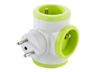 WATT & CO - Multiprise triplite rotative - blanc/vert