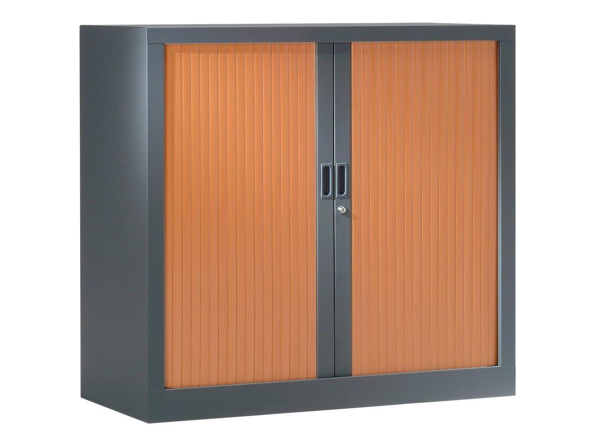 Armoire basse monobloc à rideaux GENERIC - 100 x 120 x 43 cm - anthracite/imitation merisier