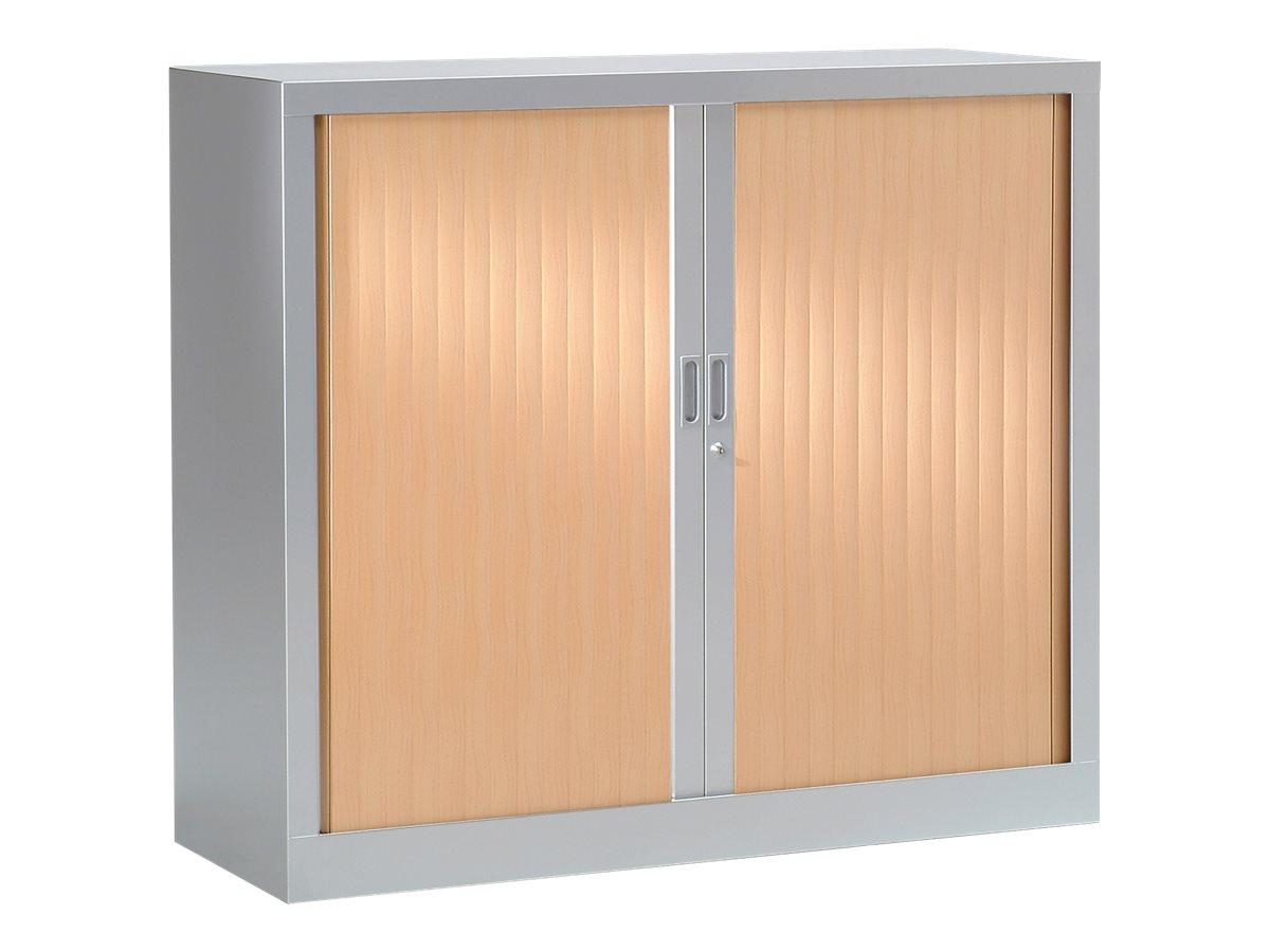 Armoire basse monobloc à rideaux GENERIC - 100 x 120 x 43 cm - aluminium/imitation hêtre