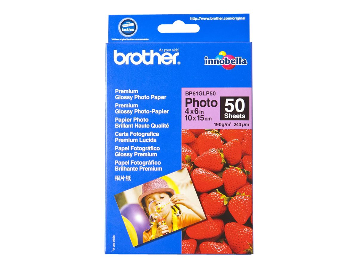 Brother BP 61GLP50 Premium Glossy Photo Paper - papier photo - 50 feuille(s) - 102 x 152 mm - 190 g/m²