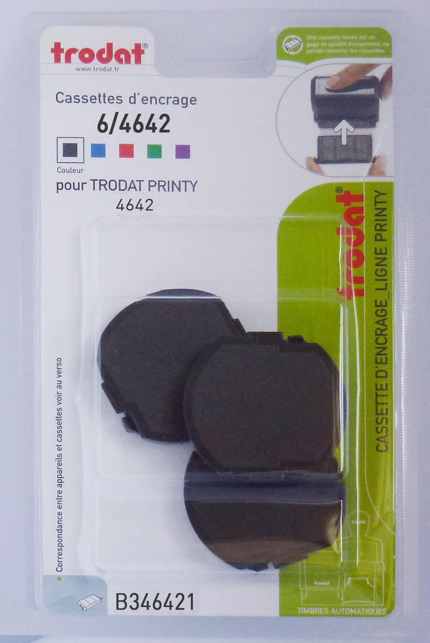 Trodat - 3 Encriers 6/4642 recharges pour tampon Printy 4642 - noir
