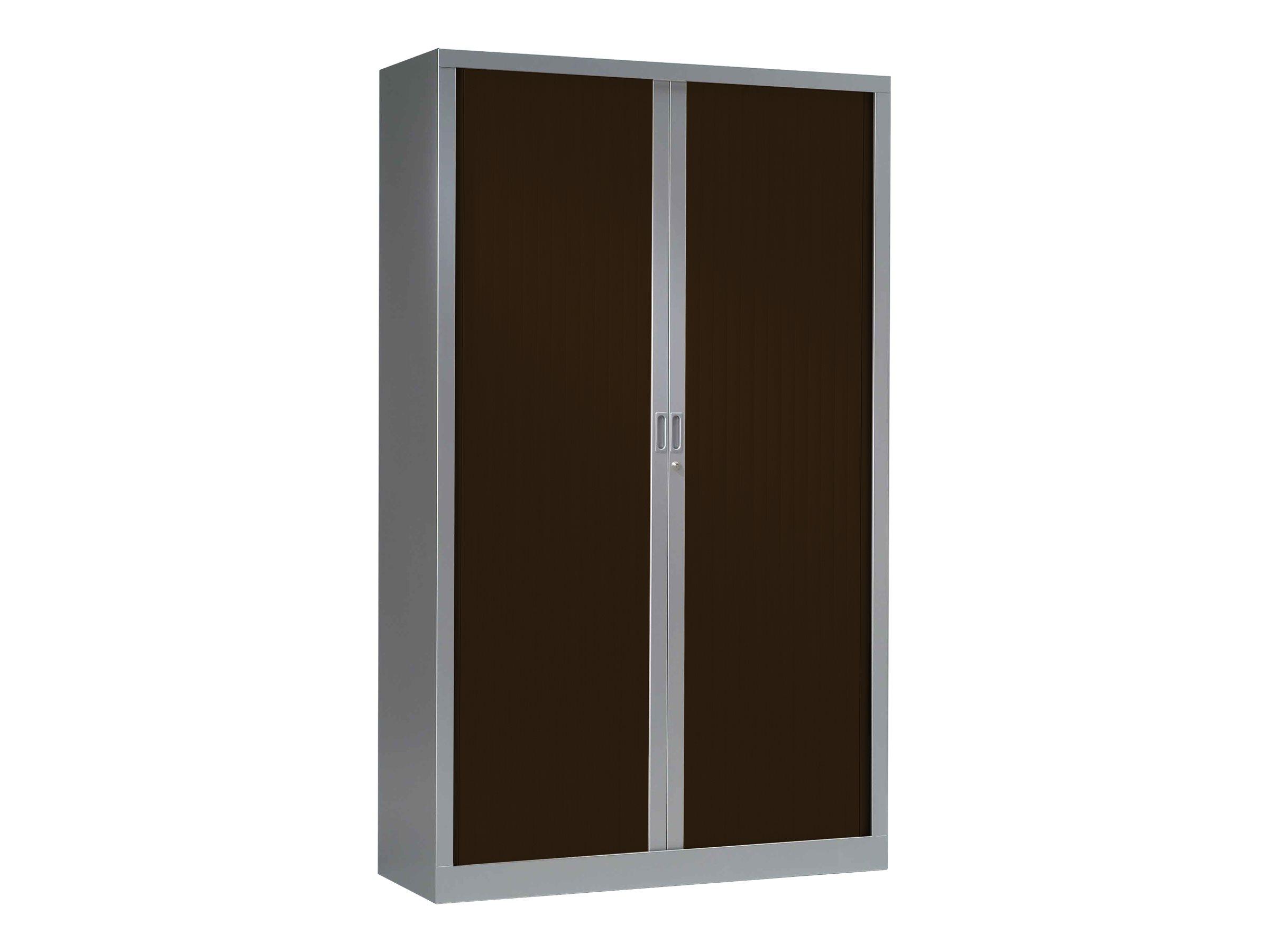 Armoire haute monobloc à rideaux GENERIC - 198 x 120 x 43 cm - aluminium/imitation wengé